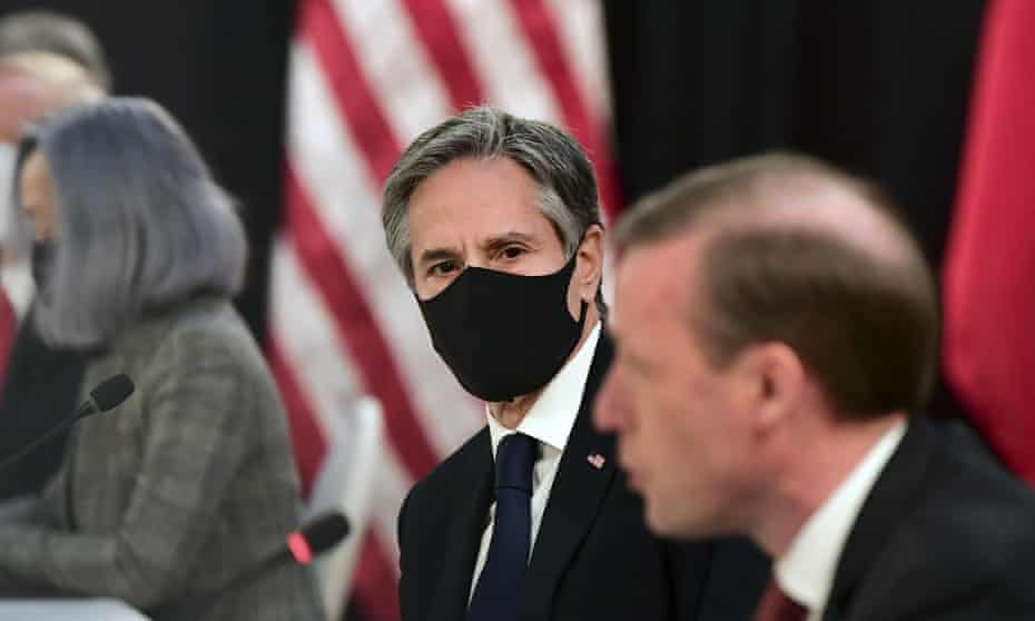 The US secretary of state, Antony Blinken, listens to Jake Sullivan, US national security adviser at the US-China talks in Anchorage