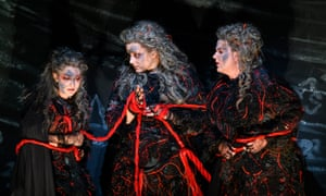 Threads … the Norns (Claudia Huckle, Irmgard Vilsmaier and Lise Davidsen) draw the saga to a close in Götterdämmerung.
