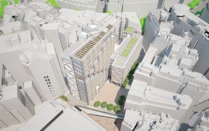A plan showing how the new Centre Building fits into the tight surrounding streets.