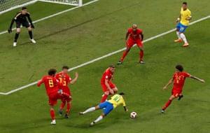 Neymar goes down again.