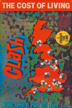 Released in 1979, the Clash's EP The Cost of Living caught the band at a moment of transition between punk and the more classic, American-influenced rock that would suffuse London Calling. This is a poster advertising the release, with different art work from the pop art-inspired sleeve.