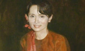 The portrait of Aung San Suu Kyi was painted by Chen Yanning.
