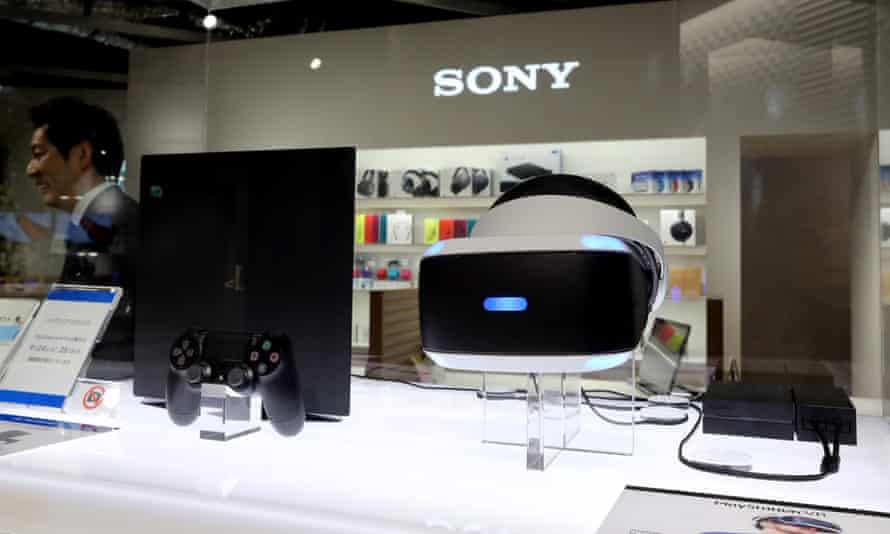 Sony displays PlayStation VR during a preview of its new showcase store in Ginza, Tokyo