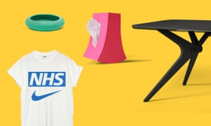 From left, Sports Banger NHS/Nike T-shirt; Inya Bowl from Kalinko; Bow (tissue dispenser), 2000, by Satoshi Umeno; Kiko birch plywood dining table by Fuzl Design.