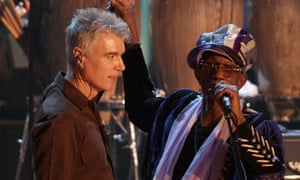 Bernie Worrell, right, with David Byrne of Talking Heads in New York, 2002.