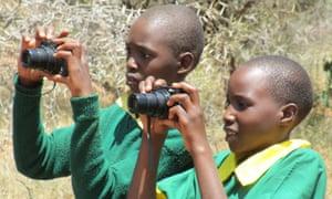 The Kids Twiga Tally: school children taking part in a giraffe count in Laikipia County, Kenya, March 2016.