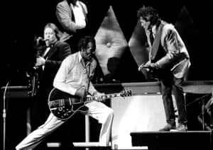 Chuck Berry and Keith Richards performing on stage at Chuck's 60th Birthday Concert for the filming of 'Hail Hail Rock 'n' Roll'.