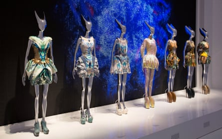 Exhibits from Alexander McQueen: Savage Beauty, the 2015 V&A exhibition, which Wilcox says was an 'incredible liberation'.