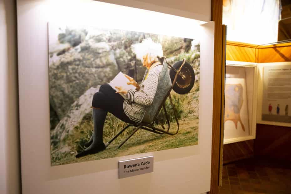 Framed picture of Rowena Cade in a wheelbarrow