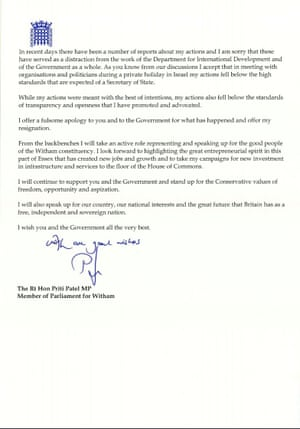 Priti patels resignation letter and theresa mays response in page two of priti patels resignation letter expocarfo Image collections