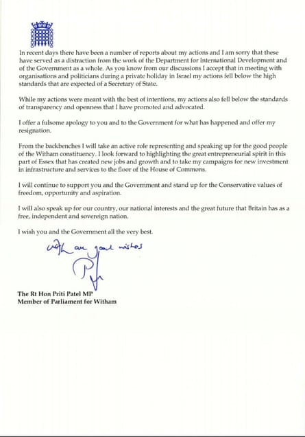 Page two of Priti Patel's resignation letter