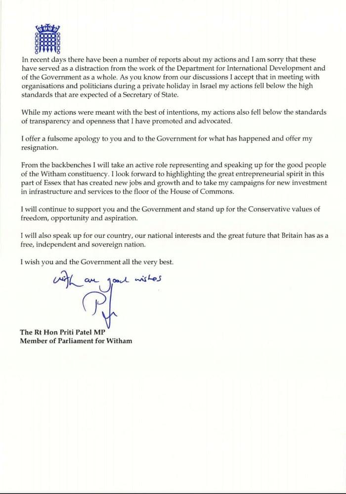 Priti patels resignation letter and theresa mays response in priti patels resignation letter and theresa mays response in full politics the guardian spiritdancerdesigns Gallery
