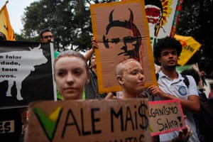 Brazil's president Jair Bolsonaro is depicted as a demon at a protest in downtown Rio de Janeiro.