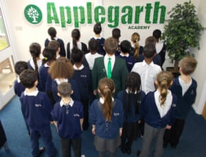 Pupils at Applegarth academy with uniforms on back to front