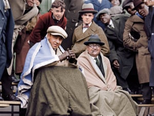 Fans sitting in the bleachers at the 1925 World Series.
