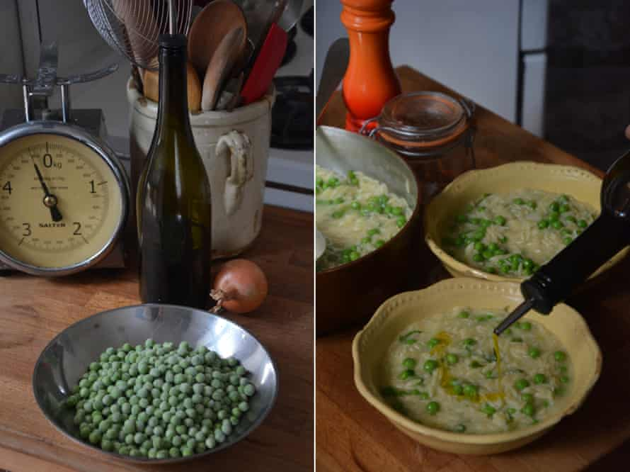 'Olive oil is at the beginning, middle and end of this recipe': Rachel Roddy's pea and lemon soup with orzo.