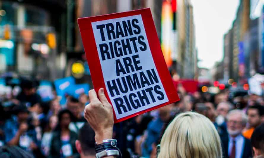 A sign saying 'Trans rights are human rights'