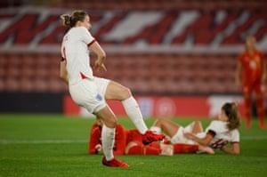 England's Ellen White scores their second goal.