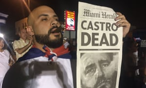 Cubans exiles at rally in Little Havana, Miami, after the death of Fidel Castro