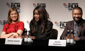 'We wanted the DNA of Botswana running through our film' … Amma Asante, centre, at the press conference for A United Kingdom.