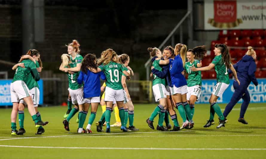 The Northern Ireland players celebrate after winning at the Seaview Stadium in Belfast