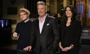 Alec Baldwin poses with Ed Sheeran and Cecily Strong