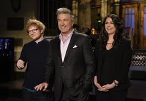 Baldwin, centre, with Ed Sheeran and Cecily Strong on Saturday Night Live.