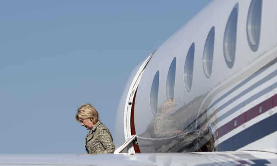 Presidential candidate Hillary Clinton arrives on her campaign plane at Martha's Vineyard Airport on 20 August, 2016.