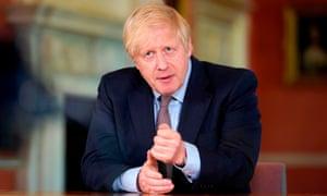 Boris Johnson giving his address on coronavirus, Sunday 9 May.