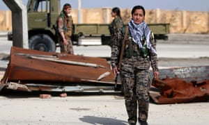 Women fighters from the Syrian Democratic Forces in Hasaka, Syria