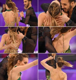 France's Guillaume Cizeron performs with France's Gabriella Papadakis as the back fastening of her costume comes undone.