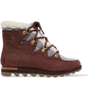 Sorel Sneakchic Alpine faux shearling-trimmed nubuck ankle boots, £180