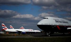 British Airways planes at Bournemouth airport