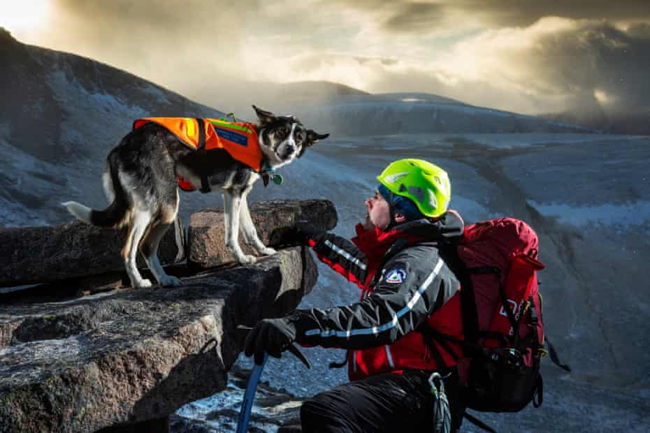 Stu McIntyre (44 years) with his dog Pippa seen above Coire an Lochain, Cairngorms