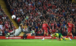 Mohamed Salah of Liverpool shoots wide .