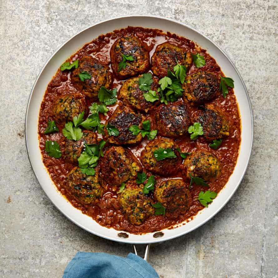 Yotam Ottolenghi's courgette and chickpea meatballs in spicy tomato sauce.