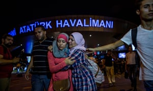 Passengers leave Istanbul Ataturk, Turkey's largest airport, after a suicide bomb attack on the international terminal.