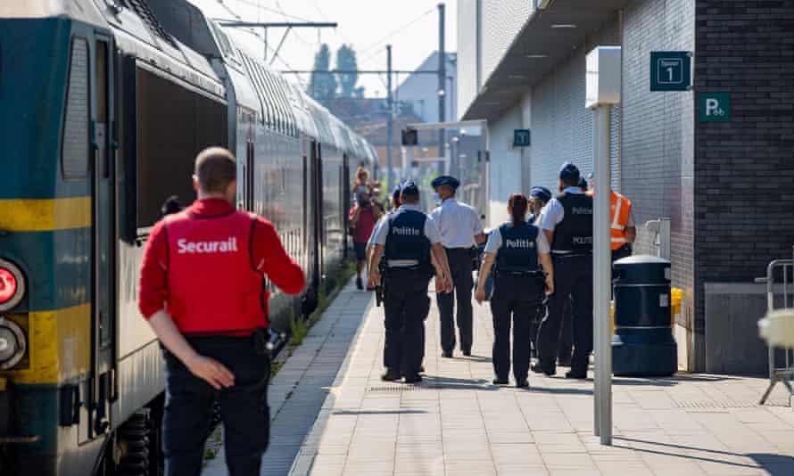 Police at the station in Blankenberge last weekend.