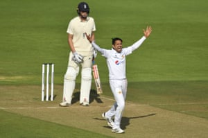 Mohammad Abbas appeals successfully for the wicket of Zak Crawley.