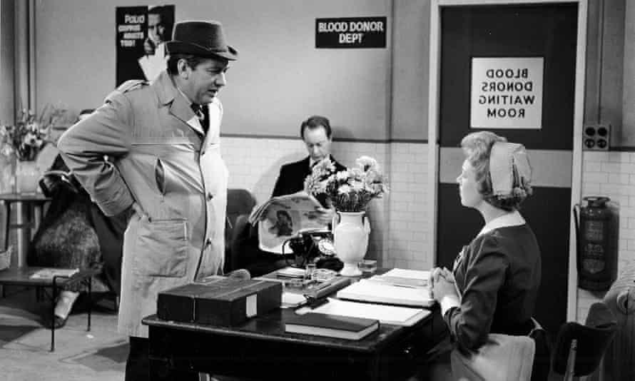 Tony Hancock in the famous Hancock blood donor episode, 1961, with Frank Thornton, centre, and June Whitfield as the nurse.