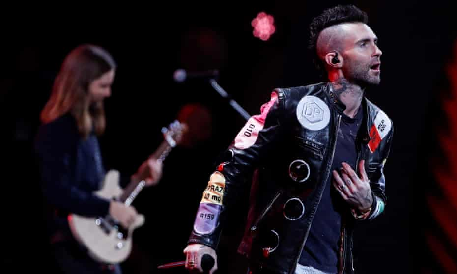 'I feel like bands are a dying breed': Adam Levine on stage with Maroon 5.
