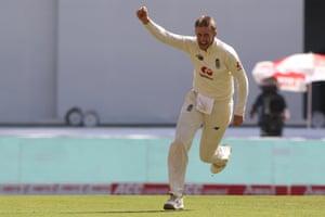 Joe Root celebrates taking the wicket of Rishabh Pant.