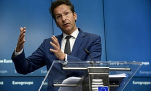 Dutch Finance Minister and president of Eurogroup Jeroen Dijsselbloem speaks during tonight's press conference.