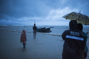 The scene on Inani beach, Cox's Bazar, after Rohingya Muslim refugees fleeing the violence in Myanmar were found dead in a boat. At least 10 children and four women died when their vessel capsized as the number of refugees topped 500,000