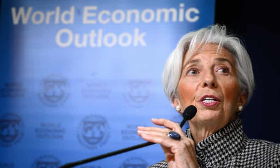 Christine Lagarde speaking in Davos