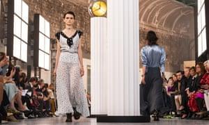 Models in Chloé's Paris fashion week show