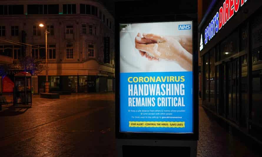 A coronavirus advice sign in Middlesbrough, England