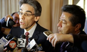 The public defenders David Brown, left, and Pedro Oliveros, right, speak with reporters in October 2015.