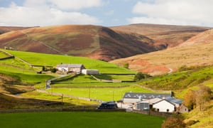 A hill farm in the Brennand Valley off the Dunsop Valley above Dunsop Bridge in the Trough of Bowland, Lancashire, UK.