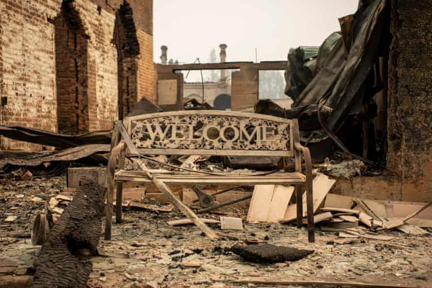 Bench amid Greenville destruction says 'welcome'